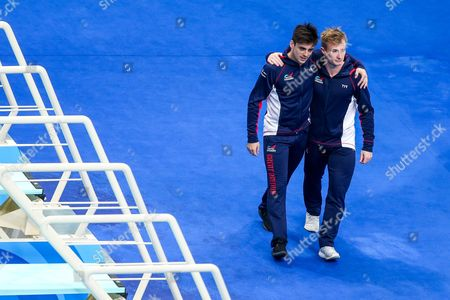 Chris Mears and Jack Laugher of Great Britain are introduced ahead of the Mens 3m Synchronised Springboard Preliminary.