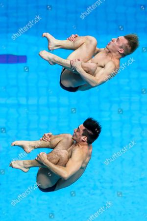 Stock Photo of Chris Mears and Jack Laugher of Great Britain compete in the Mens 3m Synchronised Springboard Preliminary.