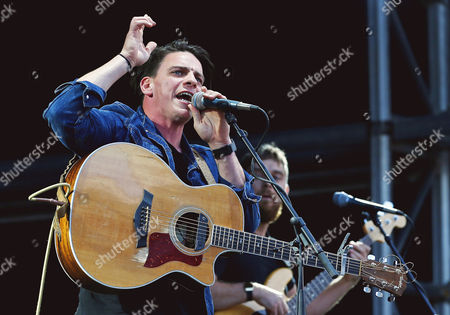 Stock Image of David Dunwell of The Dunwells performs at Sixways Stadium