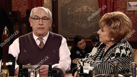 Mary Taylor, as played by Patti Clare, tries to enjoy her drink but the atmosphere is strained with Norris Cole, as played by Malcolm Hebden, and Brendan, as played by Ted Robbins, sniping at each other. (Ep 8825 - Mon 25th Jan 2016).