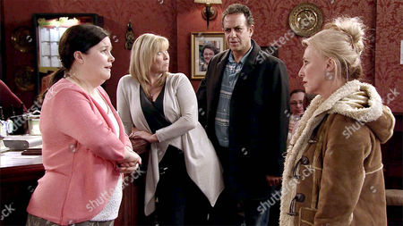 Stock Image of Calling Mary Taylor, as played by Patti Clare, a trollop, Bridget, as played by Carol Harvey, slaps her round the face. As Mary explains how she and Brendan, as played by Ted Robbins, are in love, Brendan arrives and denying all knowledge of their affair, dismisses Mary as one of his weird fans. Mary's heartbroken. (Ep 8828 - Fri 29th Jan 2016).