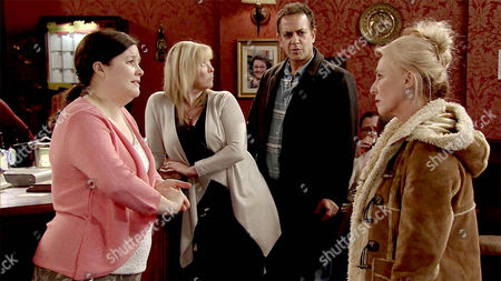 Calling Mary Taylor, as played by Patti Clare, a trollop, Bridget, as played by Carol Harvey, slaps her round the face. As Mary explains how she and Brendan, as played by Ted Robbins, are in love, Brendan arrives and denying all knowledge of their affair, dismisses Mary as one of his weird fans. Mary's heartbroken. (Ep 8828 - Fri 29th Jan 2016).