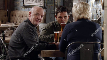 As Phelan, as played by Connor McIntyre, Jason Grimshaw, as played by Ryan Thomas, and Elleen Grimshaw, as played by Sue Cleaver, enjoy a drink in the bistro; Kevin Webster, as played by, as played by Michael Le Vell, and Anna Windass, as played by Debbie Rush, arrive for dinner. Phelan smirks at Anna unnerving her. (Ep 8830 - Mon 1st Feb 2016).