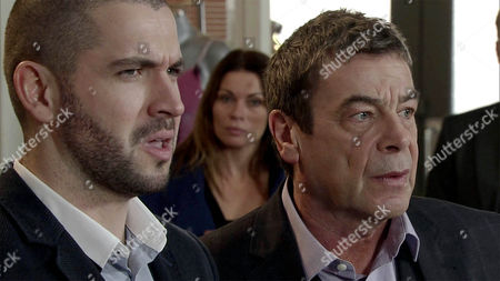 Carla Connor, as played by Alison King, arrives at the factory with Richie O'Driscol, as played by James Midgley, in tow and is embarrassed to find Johnny Connor, as played by Richard Hawley, and Aidan Connor, as played by Shayne Ward, mid-row. Carla apologises to Richie and assures him it's a one off. (Ep 8831 - Wed 3rd Feb 2016).