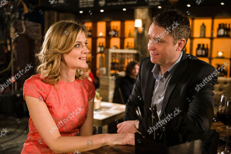 Leanne Tilsley, as played by Jane Danson, is flattered when a good looking guy called Tom, as played by Daniel Casey, chats her up in the bistro and gives her his phone number. (Ep 8833 - Fri 5th Feb 2016).