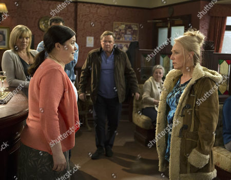 FROM ITV STRICT EMBARGO - Tuesday 19 January 2016 Coronation Street -Ep 8828 Friday 29 January 2016 - 2nd Ep Calling Mary Taylor, as played by Patti Clare, a trollop, Bridget [CAROL HARVEY] slaps her round the face. As Mary explains how she and Brendan [TED ROBBINS] are in love, Brendan arrives and denying all knowledge of their affair, dismisses Mary as one of his weird fans. Mary's heartbroken.