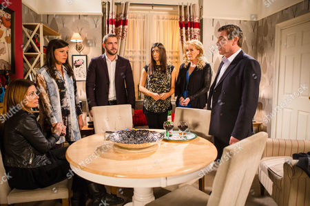 Stock Image of Ep 8810 Monday 4th January 2016 - 2nd EP Carla Connor, as played by Alison King, drops the bombshell that Johnny Connor, as played by Richard Hawley, is her Dad. Staring at Johnny in disbelief, Kate Connor, as played by Faye Brookes, and Aidan Connor, as played by Shayne Ward, are appalled to discover Johnny always suspected Carla was his daughter but kept it a secret for all these years. When Liz McDonald, as played by Beverley Callard, inadvertently lets slip that Johnny's wife died after she found out about his affair and stepped in front of a car, Kate and Aidan are horrified. As Johnny desperately tries to explain himself, will Kate and Aidan be able to forgive him?