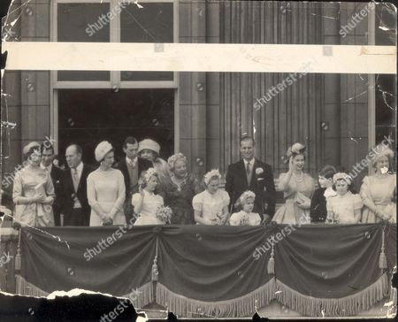 Stock Photo of Princess Margaret & Lord Snowdon Wedding Day Scenes 6 May 1960 Balcony Scenes 06/05/1960 Left To Right: Princess Alexandra ; Prince Michael of Kent ; Mr. Ronald Armstrong-jones Q.c. The Bridegroom's Father; The Duchess of Kent ; The Duke of Kent Princess Anne With Lady Patricia Ramsay Behind Her; Lady Helena Gibbs; Bridesmaids Miss Marilyn Wills And The Hon. Catherine Vesey; Prince Philip ; The Queen Elizabeth II ; Prince Charles ; Bridesmaid Miss Annabel Rhodes; Queen Elizabeth II The Queen Mother ; Bridesmaids Miss Sarah Lowther And Lady Virginia Fitzroy; Mr. Antony Armstrong-jones; Princess Margaret ; Bridesmaids Lady Rose Nevill And Miss Angela Nevill; The Princess Anne ; Best Man Dr. Roger Gilliatt; The Countess Of Rosse The Bridegroom's Mother; The Duke And Duchess of Gloucester With Their Sons Prince William Behind His Mother And Duke of Gloucester ; Queen Ingrid Of Denmark.... royalty