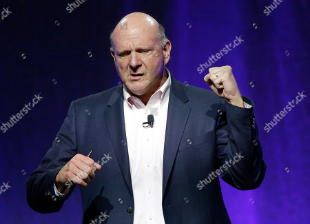 """Steve Ballmer, former CEO of Microsoft, emphasizes a point while addressing a plenary session entitled """"Civil Engagement: Understanding Government by the Numbers"""" on the third day of the National Governors Association's meeting, in Providence, R.I"""