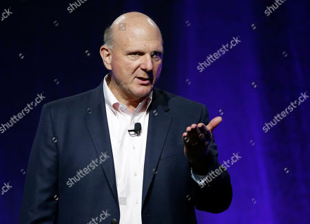 """Steve Ballmer, former CEO of Microsoft, addresses a plenary session entitled """"Civic Engagement: Understanding Government by the Numbers"""" on the third day of the National Governors Association's meeting, in Providence, R.I"""