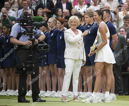 Garbine Muguruza (ESP) is interviewed by BBC Presenter Sue Barker after her win in the Ladies Final, beating Venus Williams (USA) in straight sets, Wimbledon Championships 2017, Day 12, Ladies Final, All England Lawn Tennis & Croquet Club, Church Rd, London, United Kingdom - 15th July 2017