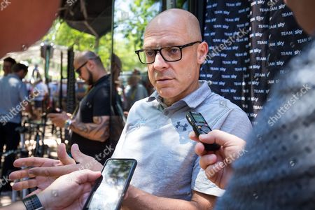 Team Sky principal Sir Dave Brailsford speaks to the media before the stage.