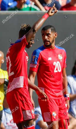 Abdiel Arroyo, Anibal Godoy Panama's Abdiel Arroyo (22) celebrates with Anibal Godoy (20) after scoring a goal against Martinique during a CONCACAF Gold Cup soccer match in Cleveland