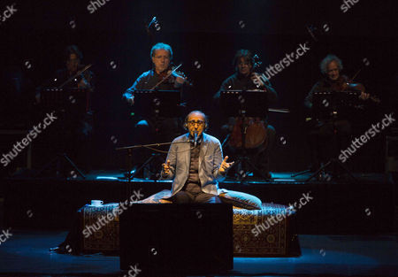Stock Picture of Italian singer and composer Franco Battiato perfoms on stage during International Festival of Pyrenees South Cultures celebrated at Lanuza, Huesca, north Spain, 15 July 2017.