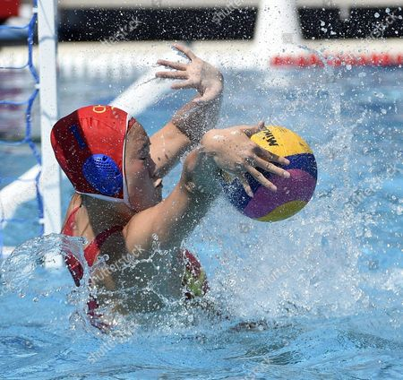 Stock Picture of Goalie Lin Peng of China makes a save makes a save during the women's water polo Group A first round match between Brazil and China of FINA Swimming World Championships 2017 in Budapest, Hungary, 16 July 2017.