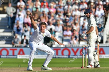 Morne Morkel of South Africa unsuccessful on review with his LBW shout against Alistair Cook of England during the International Test Series 2017 match between England and South Africa at Trent Bridge, West Bridgford