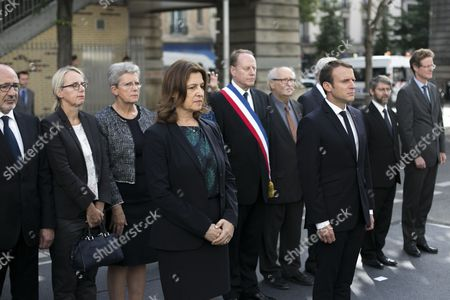 Israeli Ambassador Aliza Bin-Noun, C-L), and French President Emmanuel Macron (C-R) pay their respects, after laying a wreath at the Vel d'Hiv roundup memorial, during a ceremony commemorating the the 75th anniversary of the Vel d'Hiv roundup, Paris, France, 16 July 2017. French Jewish leaders are giving speeches at an emotional ceremony at the Vel d' Hiv stadium outside Paris, where French police rounded up some 13,000 people on July 16-17, 1942 before they were sent on to camps. Fewer than 100 survived.