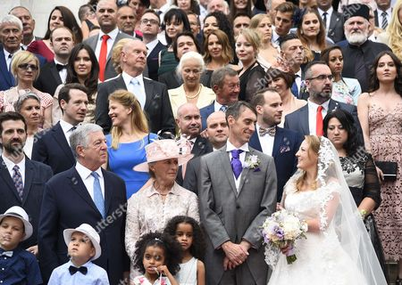 Serbian Royal wedding. His Royal Highness Prince Djordje Karadjordjevic (the son of TRH Prince Tomislav and Princess Linda) and Miss Fallon Rayman were joined in holy matrimony at St. George's Church in Oplenac. Left to Right - Hereditary Prince Peter, Crown Prince Alexander, Princess Linda Karadjordjevic, Prince Djordje Karadjordjevic, Fallon Rayman,