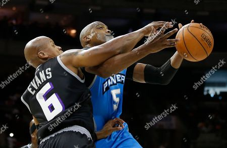 Cuttino Mobley, Mo Evans The Power's Cuttino Mobley (5) loses control of the ball as Ghost Ballers' Mo Evans (6) defends during the first half of Game 1 in the BIG3 Basketball basketball League in Philadelphia, Pa