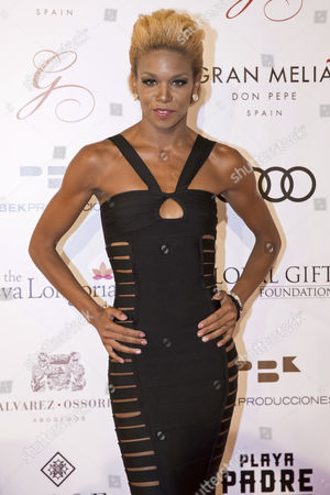Stock Picture of French singer Melissa Nkonda arrival at 'The Global Gift Gala' celebrated at Marbella, Malaga, Spain, 16 July 2017.