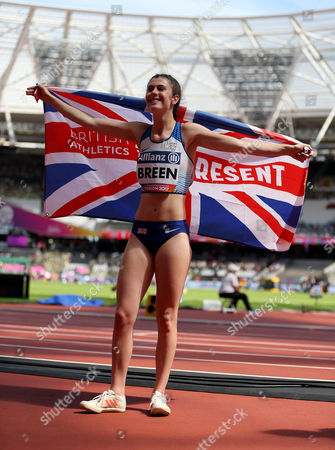Great Britain's Olivia Breen celebrates after winning Gold in the Women's Long Jump T38