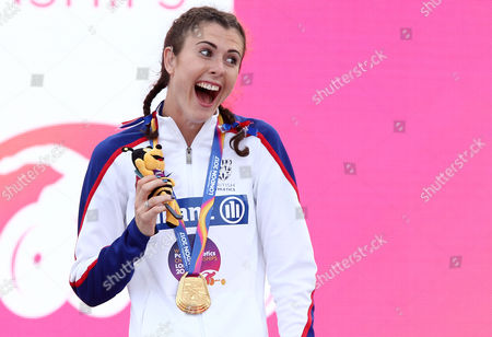 Stock Photo of Olivia Breen of Great Britain celebrates after receiving her gold for winning the Womens Long Jump T38.