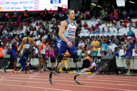 Great Britain's Richard Whitehead after coming 3rd in the Men's 100m T42 final