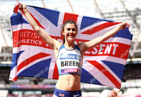 Olivia Breen of Great Britain celebrates after winning gold in the Womens Long Jump T38.