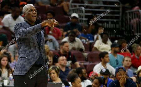 Killer 3's coach Charles Oakley watches the action against 3-Headed Monsters during Game 3 in the BIG3 Basketball League in Philadelphia, Pa