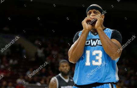 The Power's Jerome Williams (13) reacts during Game 1 against Ghost Ballers in the BIG3 Basketball basketball League in Philadelphia, Pa