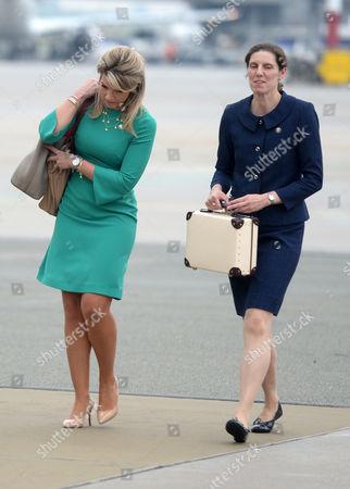 Natasha Archer and Maria Teresa Turrion Borrallo arrive in Warsaw Poland