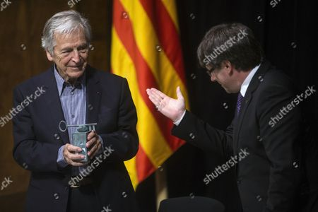 Stock Picture of Konstantinos Costa-Gavras and Carles Puigdemont