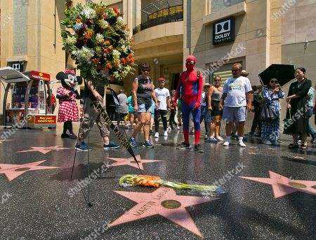 """Stock Picture of Costumed street characters join others at a wreath in memory of actor Martin Landau at his star of the Hollywood Walk of Fame in front of the Dolby Theatre, home of the Oscars, in Los Angeles, . Landau, the chameleon-like actor who gained fame as the crafty master of disguise in the 1960s TV show """"Mission: Impossible,"""" then capped a long and versatile career with an Oscar for his poignant portrayal of aging horror movie star Bela Lugosi in 1994's """"Ed Wood,"""" died Saturday July 15, 2017. He was 89"""