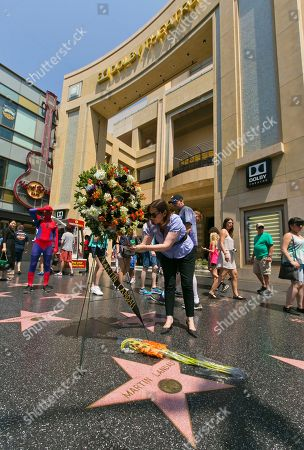 """Ana Martinez of the Hollywood Chamber of Commerce signs a wreath in memory of actor Martin Landau at his star on the Hollywood Walk of Fame in front of the Dolby Theatre, in Los Angeles, . Landau, the chameleon-like actor who gained fame as the crafty master of disguise in the 1960s TV show """"Mission: Impossible,"""" then capped a long and versatile career with an Oscar for his poignant portrayal of aging horror movie star Bela Lugosi in 1994's """"Ed Wood,"""" died Saturday, July 15, 2017. He was 89"""