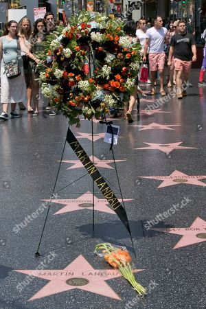 """Stock Image of A wreath in memory of actor Martin Landau adorns his star on the Hollywood Walk of Fame in front of the Dolby Theatre, in Los Angeles, . Landau, the chameleon-like actor who gained fame as the crafty master of disguise in the 1960s TV show """"Mission: Impossible,"""" then capped a long and versatile career with an Oscar for his poignant portrayal of aging horror movie star Bela Lugosi in 1994's """"Ed Wood,"""" died Saturday, July 15, 2017. He was 89"""