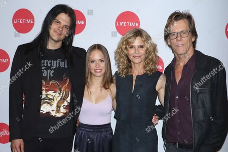 Stock Picture of Travis Bacon, Ryann Shane, Kyra Sedgwick and Kevin Bacon