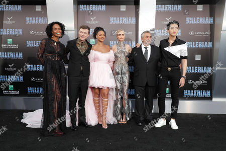 Stock Picture of Producer Virginie Silla, Dane Dehaan, Rihanna, Cara Delevingne, Director/Writer/Producer Luc Besson and Kris Wu at World Premiere of EuropaCorp 'Valerian and the City of a Thousand Planets'