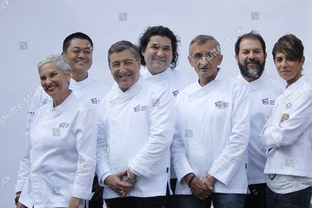 (L-R) Venezuelan chef Maria Fernanda Di Giacobbe, Japanese chef Yoshiro Narisawa, Spanish chef Joan de la Roca, Peruvian chef Gaston Acurio, French chef Michel Bras, Mexican chef Enrique Olvera and French chef Dominique Creen pose for a photo during the announcement of the Basque Culinary World Prize 2017 winner in Mexico City, Mexico, 17 July 2017. Colombian chef Leonor Espinosa won the Basque Culinary World Prize for her work, according to the director of the Basque Culinary Center (BCC), Joxe Mari Aizega.
