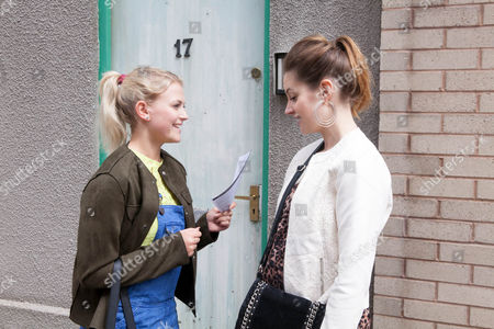 Ep 8939 Friday 8 July 2016 - 1st Ep An excited Bethany Platt, as played by Lucy Fallon, shows Kylie Platt, as played by Paula Lane, her gym application form.