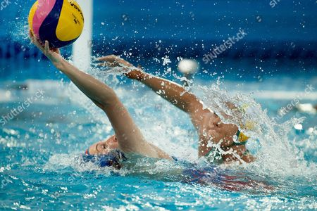 Rowie Webster (R) of Australia vies for the ball with Elvina Karimova of Russia during the women's water polo Group D match between Australia and Russia at the 17th FINA Swimming World Championships in Budapest, Hungary, 18 July 2017.