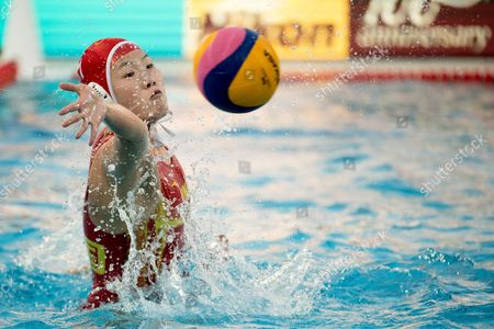 Chinese goalkeeper Lin Peng Lin in action during the women's water polo Group A match between China and Canada at the 17th FINA Swimming World Championships in Budapest, Hungary, 18 July 2017.