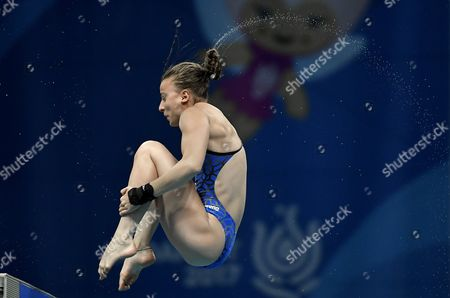 Stock Image of Laura Marino of France competes in the women's diving 10m platform preliminary at the FINA Swimming World Championships 2017 in Duna Arena in Budapest, Hungary, 18 July 2017.
