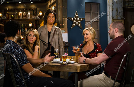 Stock Image of Ep 8968 Monday 15 August 2016 - 1st Ep Luke Britton, as played by Dean Fagan, takes Maria Connor, as played by Samia Longchambon, to the bistro for dinner, hoping to sort out their differences and suggests they should set a date for their wedding. At Steph's suggestion, Aidan Connor, as played by Shayne Ward, and Eva Price, as played by Catherine Tydlesley, join Maria and Luke at their table. Maria admires Eva's new necklace while Aidan masks his discomfort. When Caz, as played by Rhea Bailey, calls in the bistro offering to collect Liam from the babysitter, she asks Aidan if he saw Liam's toy car when he was round last night. Eva questions why he lied to her.