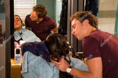 Stock Photo of Ep 8987 Friday 9 September 2016 - 2nd Ep Chopping a chunk out of Lauren's, as played by Shannon Flynn, hair, David Platt, as played by Jack P Shepherd, tells her that if she ever bullies Bethany again it'll be her throat next time. Threatening to call the police, Lauren flees the salon scared witless.