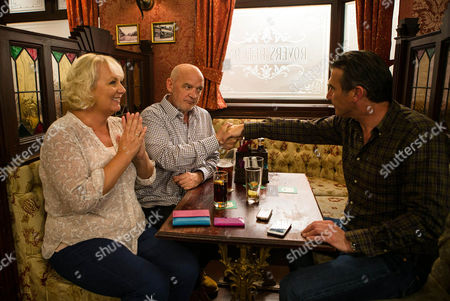 Ep 8991 Friday 16th September 2016 - 2nd Ep In the Rovers, Vinny, as played by Ian Kelsey, takes a call confirming planning permission has been granted. Eileen Grimshaw's, as played by Sue Cleaver, delighted, still blissfully unaware of Phelan's, as played by Connor McIntyre, plot to fleece buyers.