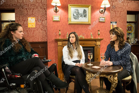 Ep 8577 Monday 16 February 2015 - 1st Ep Feeling vulnerable, Faye tells Gary, Izzy Armstrong, as played by Cherylee Houston, and Katy Armstrong, as played by Georgia May-Foote, they mustn't let Linda, as played by Jacqueline Leonard, destroy the family. They assure her that won't happen. But when the family catch Katy sharing a drink with Linda before she heads back to Portugal they're horrified. Izzy rips into Linda calling her a disgrace. Linda snaps and tells Owen it's time the girls found out the truth.