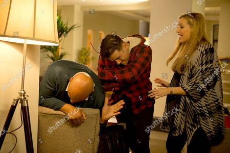 Ep 8581 Friday 20 February 2015 - 2nd Ep In a rage, Jason Grimshaw, as played by Bruno Langley,marches up to a stunned Tony Stewart, as played by Terence Maynard, and accusing him of having an affair with Eva Price, as played by Catherine Tyldesley, punches him.