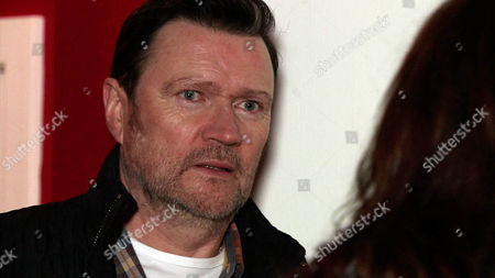 Ep 8572 Monday 9 February 2015 - 1st Ep Owen Armstrong, as played by Ian Puleston-Davies, answers the door and is horrified to find his ex-wife Linda, as played by Jacqueline Leonard, on the doorstep!