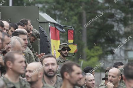 Spanish soldiers wait for Spanish Prime Minister Mariano Rajoy and the Spanish Minister of Defence Maria Dolores Cospedal to arrive for their visit to the Adazi Military Base in Latvia, 18 July 2017. The Adazi military camp since spring 2017 is hosting the Canadian-led multinational battlegroup with armed forces and equipment from Albania, Italy, Poland, Slovenia and Spain.