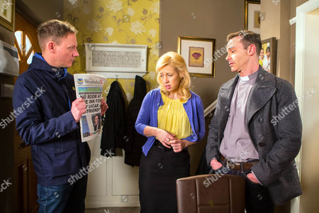 Ep 8631 Monday 4th May 2015 - 1st Ep Billy, as played by Daniel Brocklebank, calls at No.11 and angrily shows Sean Tully, as played by Antony Cotton, the Gazette article about their run in with the pub landlord.Sean's mortified and explains how Julie Carp, as played by Katy Cavanagh, contacted the paper with their story. Worried for his career, Billy tells Sean he's got a meeting with the Bishop who has very conservative views on homosexuality. Sean feels terrible.